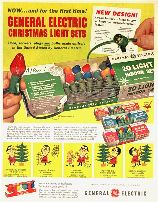 Although the ad says that this is GEu0027s first offering of Christmas lights the Company is known to have produced Christmas lighting outfits in the very ...  sc 1 st  Old Christmas Tree Lights & 1960-1969 Page 3 azcodes.com