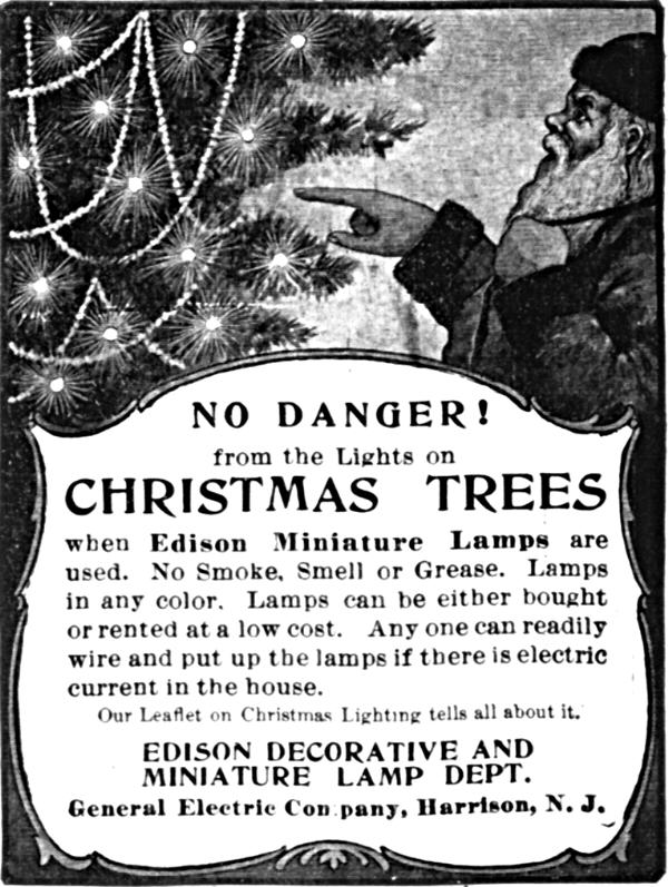 1st String Of Christmas Tree Lights Created By Thomas Edison : History