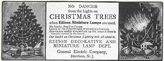 1st String Of Christmas Tree Lights Created By Thomas Edison : Early History Page 1